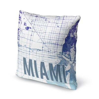Miami Sunset Front Accent Pillow Size: 18 H x 18 W x 5 D, Color: Blue/ Purple/ White