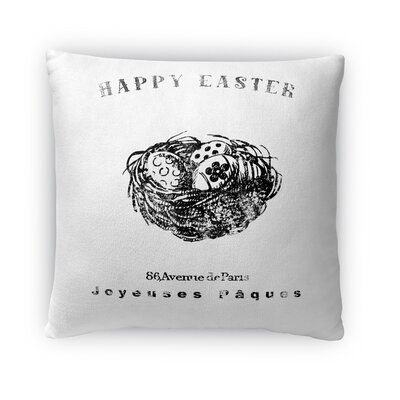 Nest with Easter Eggs Throw Pillow Size: 18 H x 18 W x 4 D