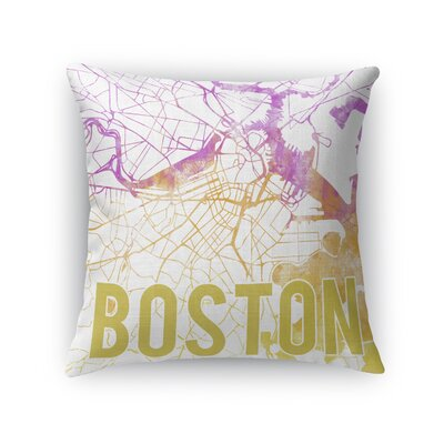 Boston Sunset Front Throw Pillow Size: 16 H x 16 W x 5 D, Color: Pink