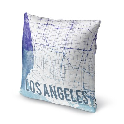 La Sunset Front Accent Pillow Size: 24 H x 24 W x 5 D, Color: Blue/ Purple/ White