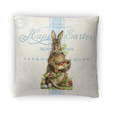 Easter Bunny with Easter Eggs Throw Pillow Size: 16 H x 16 W x 4 D