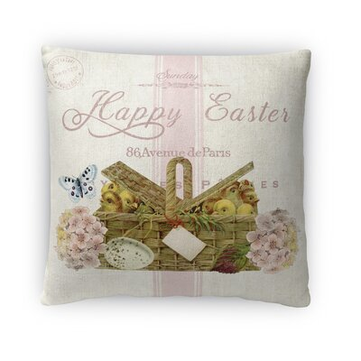 Happy Easter with Basket of Chics Throw Pillow Size: 16 H x 16 W x 4 D
