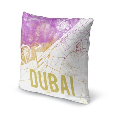 Dubai Sunset Front Accent Pillow Size: 16 H x 16 W x 5 D, Color: Pink/ Purple/ Gold/ White