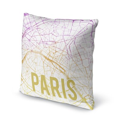 Paris Sunset Front Accent Pillow Size: 24 H x 24 W x 5 D, Color: Pink/ Purple/ Gold/ White