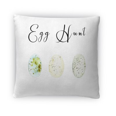 Egg Hunt Throw Pillow Size: 16 H x 16 W x 4 D, Color: White