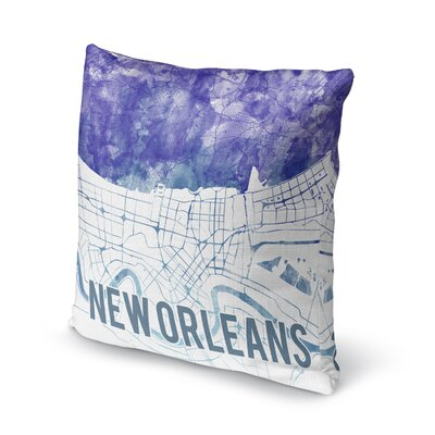 New Orleans Sunset Front Accent Pillow Size: 16 H x 16 W x 5 D, Color: Blue/ Purple/ White