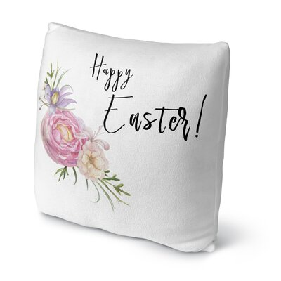 Happy Easter Floral Throw Pillow Size: 16 H x 16 W x 4 D