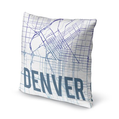 Denver Sunset Front Accent Pillow Size: 16 H x 16 W x 5 D, Color: Blue/ Purple/ White