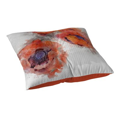 Watercolor Poppies Floor Pillow Size: 23 H x 23 W x 9.5 D