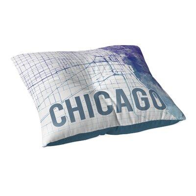 Chicago Sunset Front Floor Pillow Size: 23 H x 23 W x 9.5 D, Color: Purple