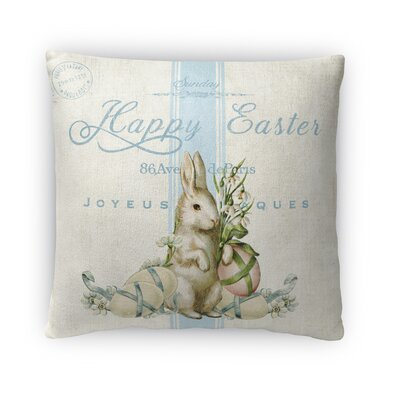 White Easter Bunny with Eggs Throw Pillow Size: 16 H x 16 W x 4 D