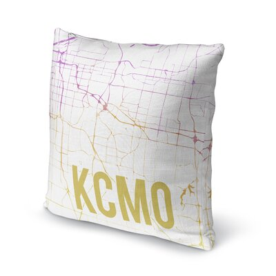 Kcmo Sunset Front Accent Pillow Size: 16 H x 16 W x 5 D, Color: Pink/ Purple/ Gold/ White