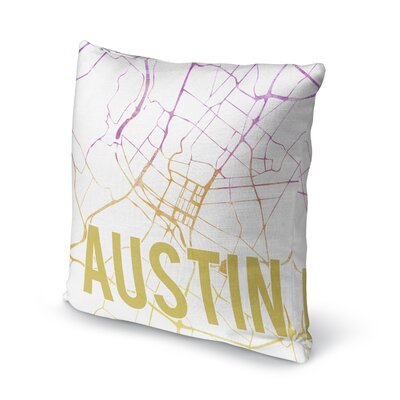 Austin Sunset Front Accent Pillow Size: 16 H x 16 W x 5 D, Color: Pink/ Purple/ Gold/ White
