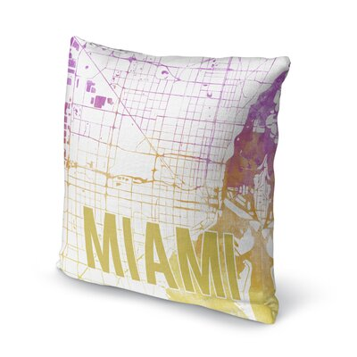 Miami Sunset Front Accent Pillow Size: 16 H x 16 W x 5 D, Color: Pink/ Purple/ Gold/ White