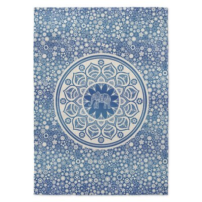 Neuilly Blue/White Area Rug Rug Size: 2 x 3