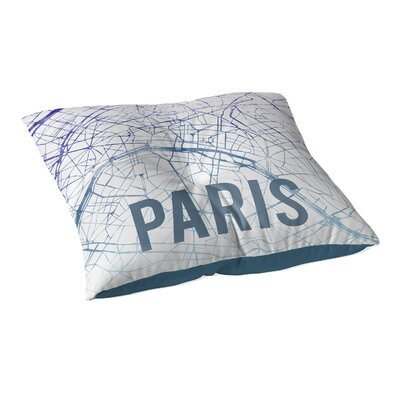Paris Sunset Front Floor Pillow Size: 23 H x 23 W x 9.5 D, Color: Purple