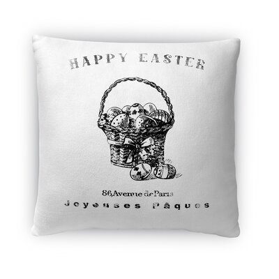Happy Easter Basket with Easter Eggs Throw Pillow Size: 16 H x 16 W x 4 D