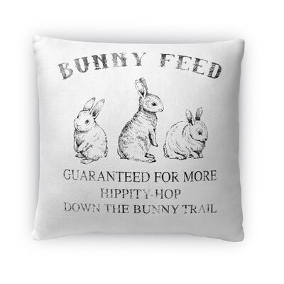 Bunny Feed Throw Pillow Size: 16 H x 16 W x 4 D, Color: Light Gray
