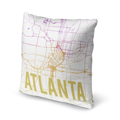 Atlanta Sunset Front Accent Pillow Size: 18 H x 18 W x 5 D, Color: Pink/ Purple/ Gold/ White