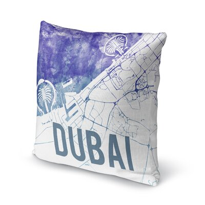 Dubai Sunset Front Accent Pillow Size: 16 H x 16 W x 5 D, Color: Blue/ Purple/ White