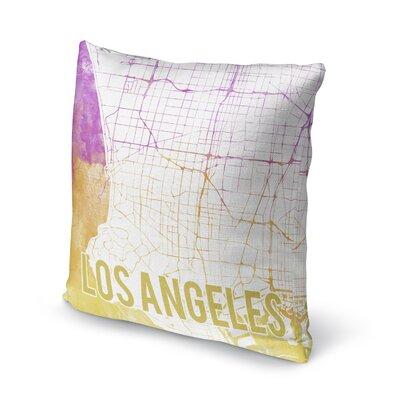 La Sunset Front Accent Pillow Size: 16 H x 16 W x 5 D, Color: Pink/ Purple/ Gold/ White