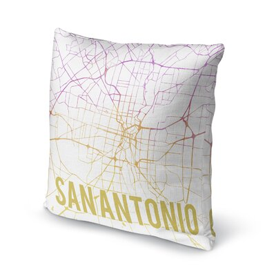 San Antonio Sunset Front Accent Pillow Size: 16 H x 16 W x 5 D, Color: Pink/ Purple/ Gold/ White