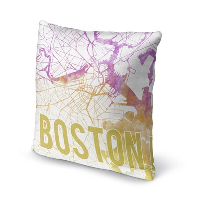 Boston Sunset Front Accent Pillow Size: 18 H x 18 W x 5 D, Color: Pink/ Purple/ Gold/ White