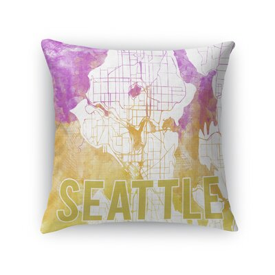Seattle Sunset Front Throw Pillow Size: 16 H x 16 W x 5 D, Color: Pink
