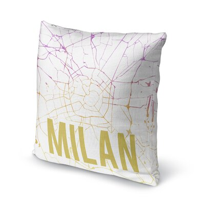 Milan Front Accent Pillow Size: 24 H x 24 W x 5 D, Color: Pink/ Purple/ Gold/ White