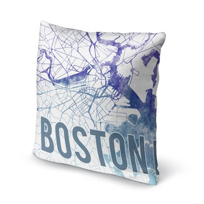 Boston Sunset Front Accent Pillow Size: 18 H x 18 W x 5 D, Color: Blue/ Purple/ White