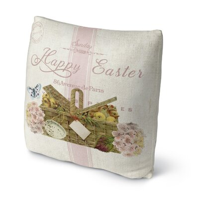 Happy Easter with Basket of Chics Throw Pillow Size: 18 H x 18 W x 4 D
