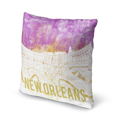 New Orleans Sunset Front Accent Pillow Size: 18 H x 18 W x 5 D, Color: Pink/ Purple/ Gold/ White