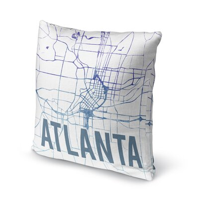 Atlanta Sunset Front Accent Pillow Size: 16 H x 16 W x 5 D, Color: Blue/ Purple/ White