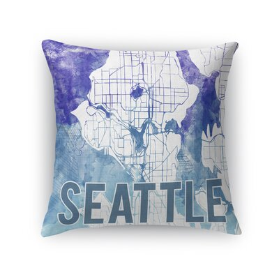 Seattle Sunset Front Throw Pillow Size: 16 H x 16 W x 5 D, Color: Purple