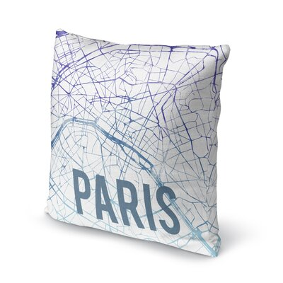 Paris Sunset Front Accent Pillow Size: 24 H x 24 W x 5 D, Color: Blue/ Purple/ White