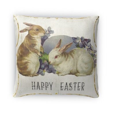 Bunnies for Easter Throw Pillow Size: 16 H x 16 W x 4 D
