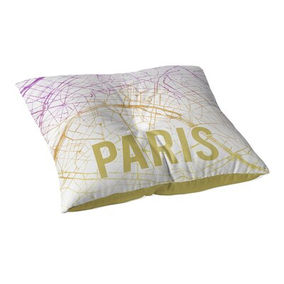 Paris Sunset Front Floor Pillow Size: 26 H x 26 W x 12.5 D, Color: Pink