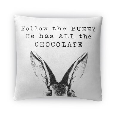 Follow the Bunny Throw Pillow Size: 18 H x 18 W x 4 D