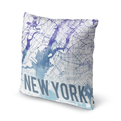 New York Sunset Front Accent Pillow Size: 18 H x 18 W x 5 D, Color: Blue/ Purple/ White