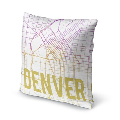 Denver Sunset Front Accent Pillow Size: 16 H x 16 W x 5 D, Color: Pink/ Purple/ Gold/ White