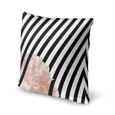 Peony Stripe Accent Pillow Size: 18 H x 18 W x 5 D
