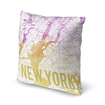 New York Sunset Front Accent Pillow Size: 18 H x 18 W x 5 D, Color: Pink/ Purple/ Gold/ White
