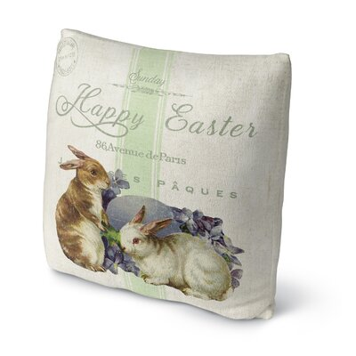 Two Easter Bunnys Throw Pillow Size: 18 H x 18 W x 4 D