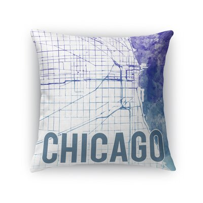 Chicago Sunset Front Throw Pillow Size: 16 H x 16 W x 5 D, Color: Purple
