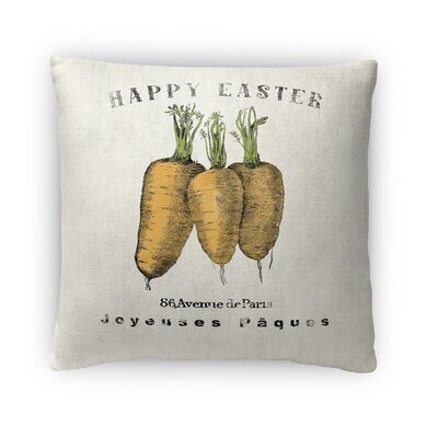Happy Easter Carrots Throw Pillow Size: 16 H x 16 W x 4 D, Color: Yellow/Gray