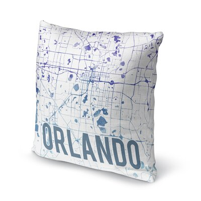 Orlando Sunset Front Accent Pillow Size: 18 H x 18 W x 5 D, Color: Blue/ Purple/ White