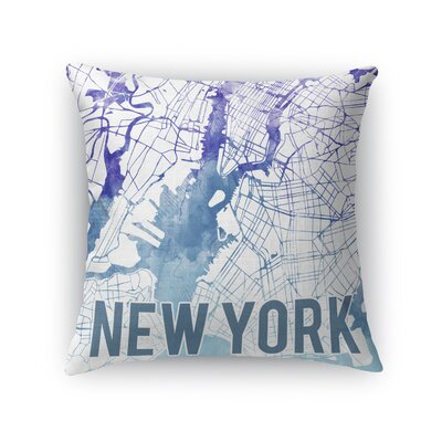 New York Sunset Front Throw Pillow Size: 16 H x 16 W x 5 D, Color: Purple
