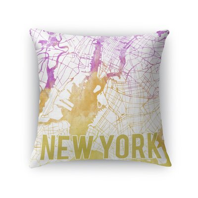 New York Sunset Front Throw Pillow Size: 16 H x 16 W x 5 D, Color: Pink