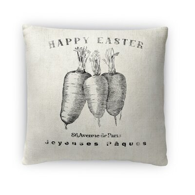 Happy Easter Carrots Throw Pillow Size: 16 H x 16 W x 4 D, Color: Gray