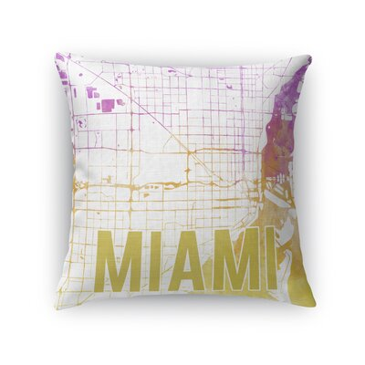 Miami Sunset Front Throw Pillow Size: 16 H x 16 W x 5 D, Color: Pink